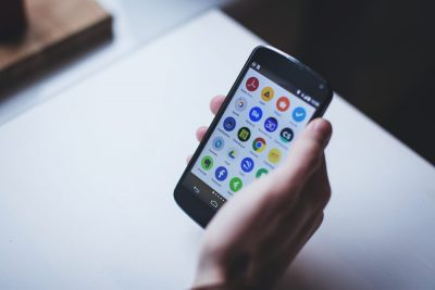 Smartphone screen with app icons. Image credit: freestocks.org, CC0 Public Domain