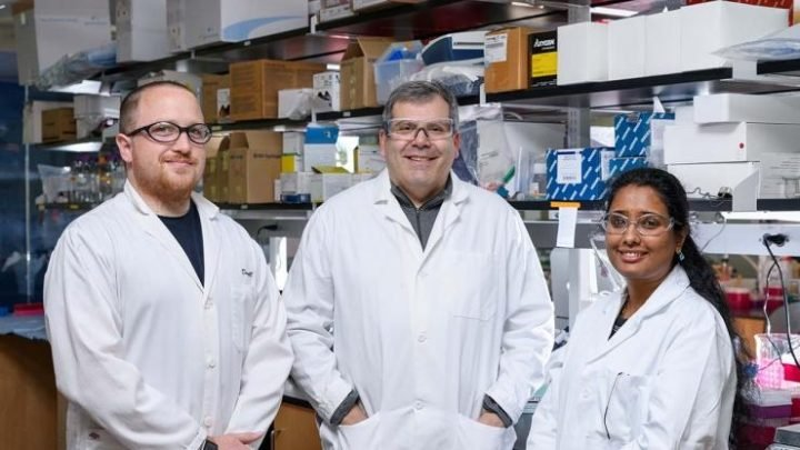 Graduate student Daryll Vanover, professor Philip Santangelo and post-doctoral fellow Pooja Tiwari were co-authors on a study that used mRNA-expressed antibodies to prevent RSV infection in mice. Image credit: Georgia Tech