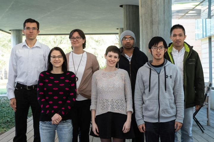 A team of more than 30 scientists led by Rice University physicist Emilia Morosan (third from left) has discovered an eccentric family of quantum materials with unusual magnetic and electronic properties. Rice team members include (from left) Andriy Nevidomskyy, Macy Stavinoha, Morosan, Alannah Hallas, Vaideesh Loganathan, Tong Chen and Chien-Lung Huang. (Photo by Jeff Fitlow/Rice University)