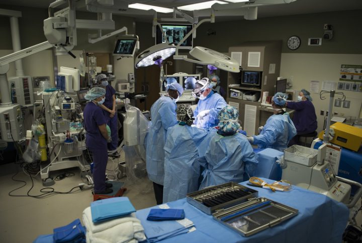 Medical team perform an orthopedic spine surgery. Image credit: U.S. Air Force, Andrew D. Sarver / Public Domain
