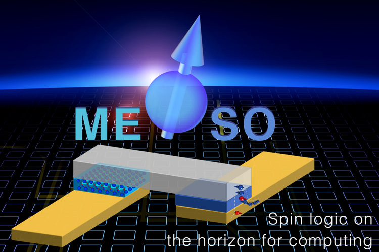 MESO devices, based on magnetoelectric and spin-orbit materials, could someday replace the ubiquitous semiconductor transistor, today represented by CMOS. MESO uses up-and-down magnetic spins in a multiferroic material to store binary information and conduct logic operations. (Intel graphic/Intel Newsroom)