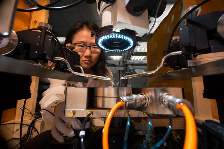 Yuhan Shi sets up the synaptic device array for testing.