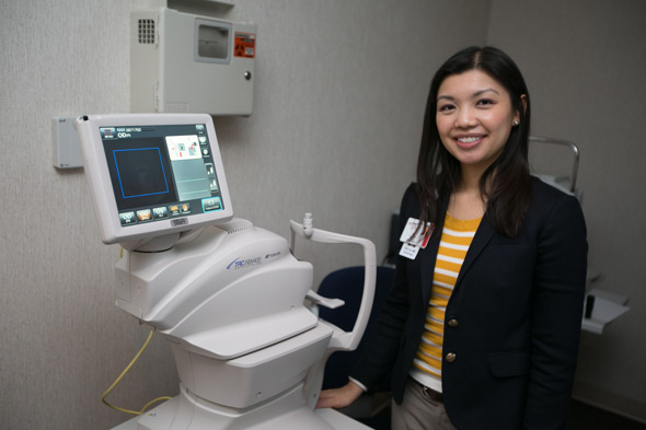Dr. Yao Liu wants to improve eye screenings across Wisconsin with teleophthalmology, a low-cost, convenient method in which a picture of a patient's eye is sent to an eye doctor to diagnose. Image credit: University of Wisconsin-Madison