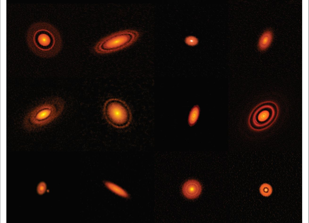 ALMA's high-resolution images of nearby protoplanetary disks, which are results of the Disk Substructures at High Angular Resolution Project (DSHARP). Credit: ALMA (ESO/NAOJ/NRAO), S. Andrews et al.; NRAO/AUI/NSF, S. Dagnello