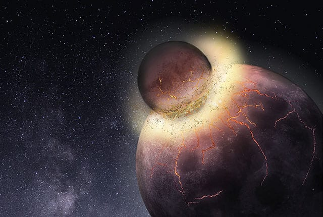 Rice University petrologists have found Earth most likely received the bulk of its carbon, nitrogen and other life-essential volatile elements from the planetary collision that created the moon more than 4.4 billion years ago. Image credit: Rice University