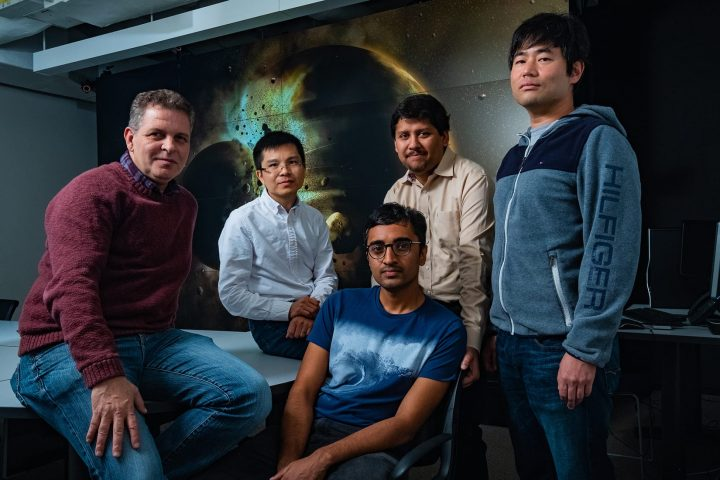 A study by Rice University scientists (from left) Gelu Costin, Chenguang Sun, Damanveer Grewal, Rajdeep Dasgupta and Kyusei Tsuno found Earth most likely received the bulk of its carbon, nitrogen and other life-essential elements from the planetary collision that created the moon more than 4.4 billion years ago. The findings appear in the journal Science Advances. (Photo by Jeff Fitlow/Rice University)