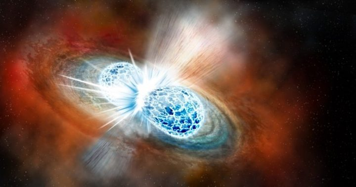 Artist's conception of two neutron stars colliding. A U of A researcher has created a 3-D computer simulation that gives scientists a clearer picture of what happens in the aftermath of the collision. Image credit: Robin Dienel, Carnegie Institution for Science