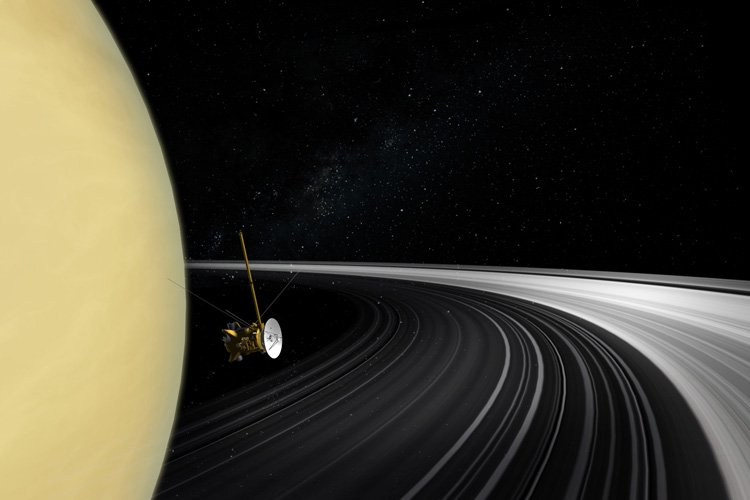 Artist's concept of the Cassini orbiter crossing Saturn's ring plane. Image credit: NASA/JPL