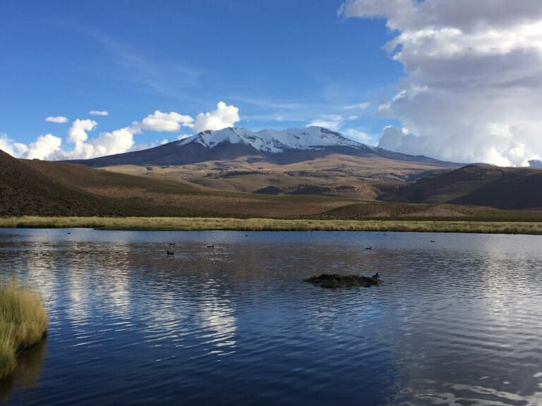 The traditional landscape of the Andean plateau in Chile. In the foreground, the Villablanca lagoon can be seen with the Sillajuay mountain as the background. Image credit: University of Wisconsin-Madison