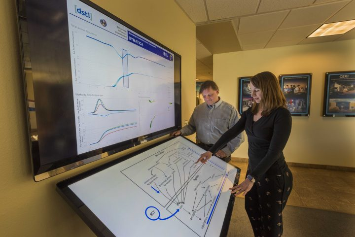 Sandia National Laboratories researchers Mike Bernard, left, and Asmeret Naugle translate a web of psychology, social science, economics and politics into a framework to better understand how groups make decisions. (Photo by Randy Montoya)