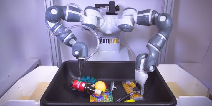 When UC Berkeley researchers trained reward functions for a parallel-jaw gripper and a suction cup gripper on a two-armed robot, it picked up a variety of objects with 95 percent reliability. Image credit: Adriel Olmos, UC Berkeley