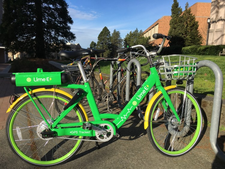 Free-floating bike share programs like LimeBike, shown here, now serve cyclists in Seattle. Image credit: Jackson Holtz/University of Washington