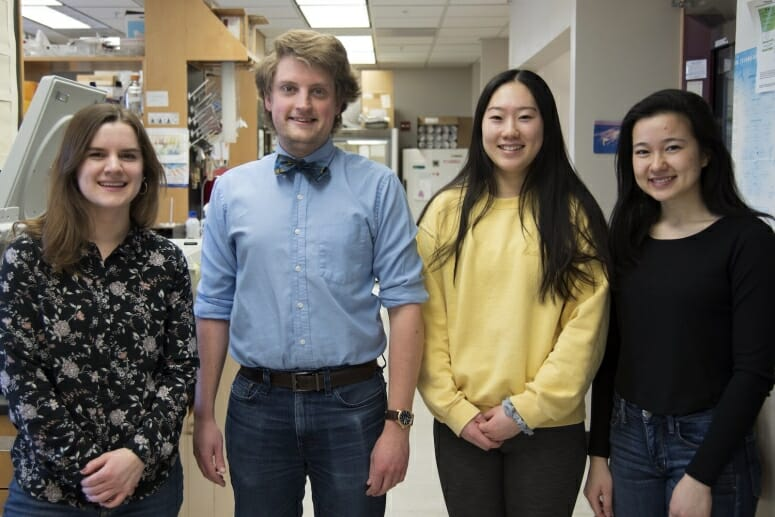 Left to right are Emma Steigerwald, Steven Bruckbauer, Jessica Liu, and Illissa (Jasmine) Lancaster. Steigerwald, Liu, and Lancaster are undergraduates in the lab who assisted Bruckbauer with his experiments. Photo by Robin Davies / University of Wisconsin-Madison