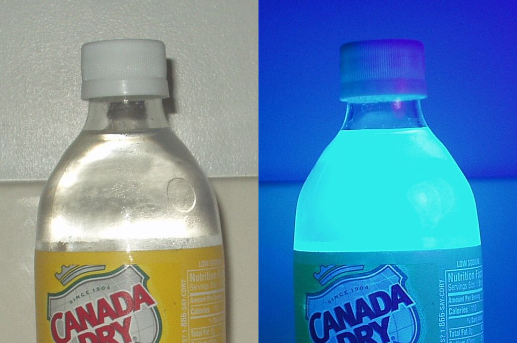 A little known fact - tonic water will fluoresce under ultraviolet light and appears visibly fluorescent in direct sunlight. Image credit: Splarka via Wikimedia
