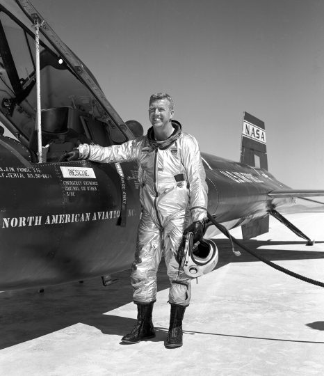 Walker made the first NASA-piloted X-15 flight March 25, 1960, and flew the aircraft 24 times, achieving its highest altitude (354,300 ft.) Aug. 22, 1963. He died piloting a F-104 that was caught up in a vortex of the XB-70. Credits: NASA