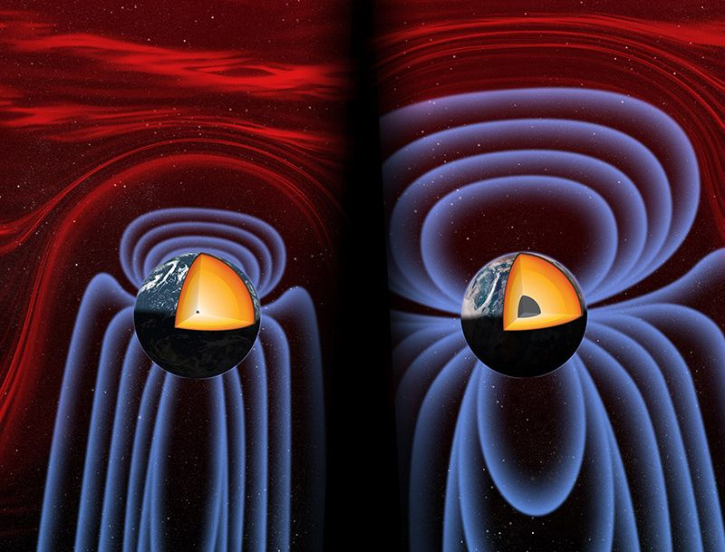INNER CORE, THEN AND NOW: Earth's magnetic field is generated in its liquid iron core via a geodynamo. Researchers believe a weak geodynamo—and a weak magnetic shield—formed early in Earth's history, but decreased for the next several billion years until a critical point 565 million years ago (left image). The researchers conjecture it was at this point in the geological time scale that the inner core began to form, increasing the strength of the geodynamo and the magnetic field (right image). Image credit: University of Rochester illustration / Michael Osadciw
