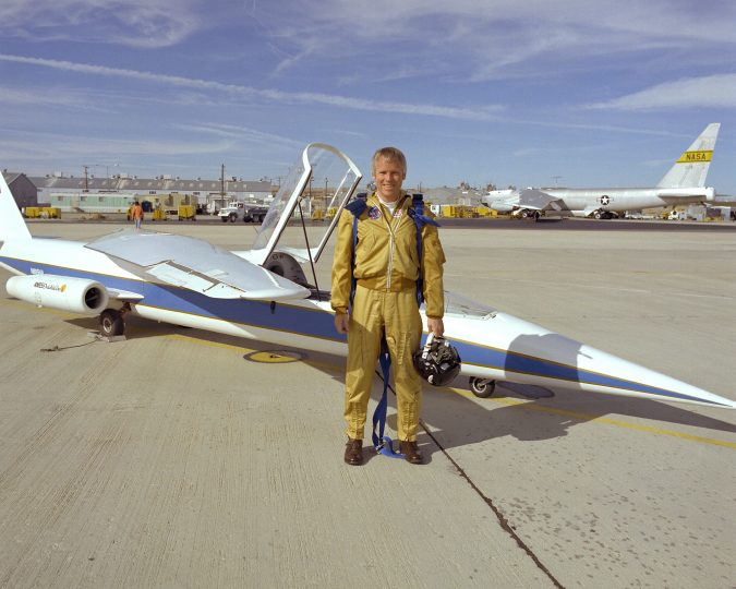 """Richard E. """"Dick"""" Gray, seen above with the AD-1 oblique wing experimental aircraft, lost his life during a pilot proficiency flight. Credits: NASA"""