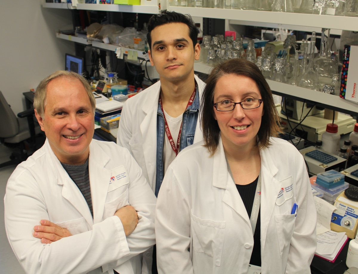 Martin Olivier (Principal Investigator) with Alonso da Silva Lira Filho (PhD student) and Caroline Martel (Research assistant) in their laboratory at the Research Institute of the McGill University Health Centre.