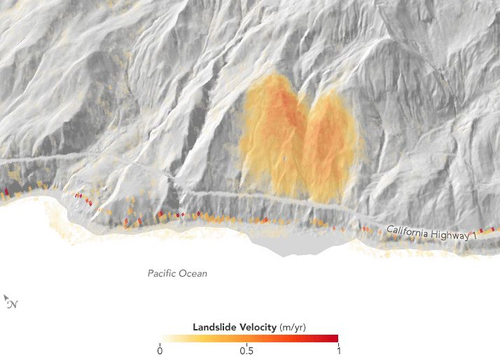 Velocity changes in the slide area, March 2015 to May 2017. In winter 2015-16, slide speeds increased with the winter rains and then slowed steadily until the following winter. In winter 2016-17, heavy rains caused the landslide to accelerate twice, first in December 2016 and then again in March 2017. The scientists think the double acceleration may have been a signal of the impending collapse in May. Credit: Google/SIO/NOAA/U.S. Navy/NGA/GEBCO/Landsat/Copernicus