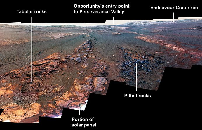 This image is a cropped version of the last 360-degree panorama taken by the Opportunity rover's Panoramic Camera (Pancam) from May 13 through June 10, 2018. The view is presented in false color to make some differences between materials easier to see. Credit: NASA/JPL-Caltech/Cornell/ASU