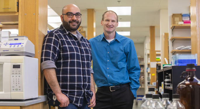 Kareem Mohni, PhD, left, and David Cortez, PhD, have discovered a new DNA repair pathway that guards against genomic mutations. (photo by Anne Rayner, Vanderbilt University)