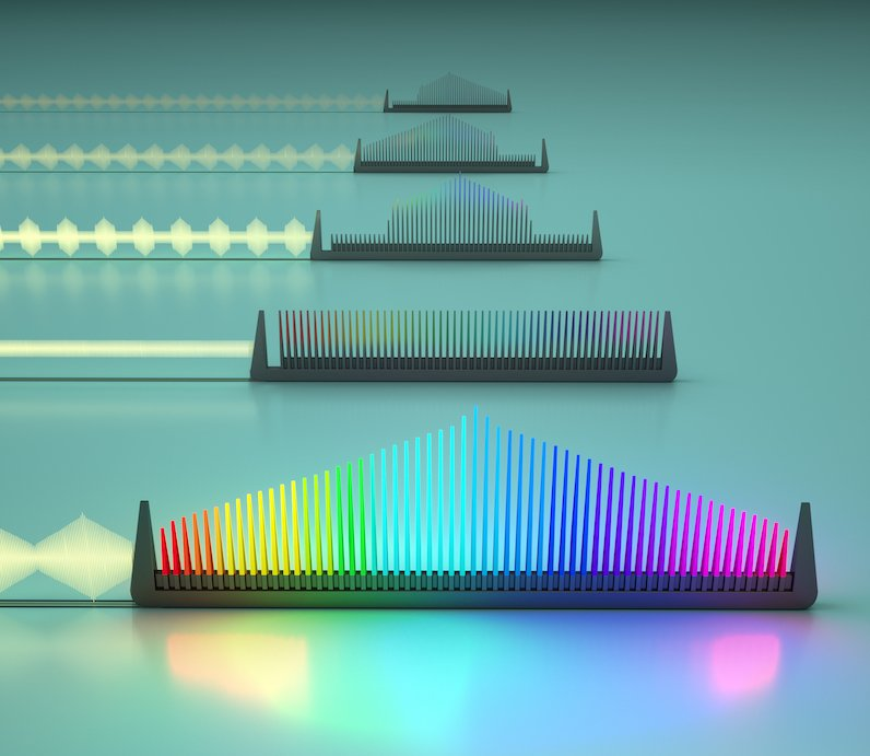 A new integrated electro-optic frequency comb can be tuned using microwave signals, allowing the properties of the comb — including the bandwidth, the spacing between the teeth, the height of lines and which frequencies are on and off — to be controlled independently. It could be used for many applications including optical telecommunication. Image credit: Second Bay Studios/Harvard SEAS