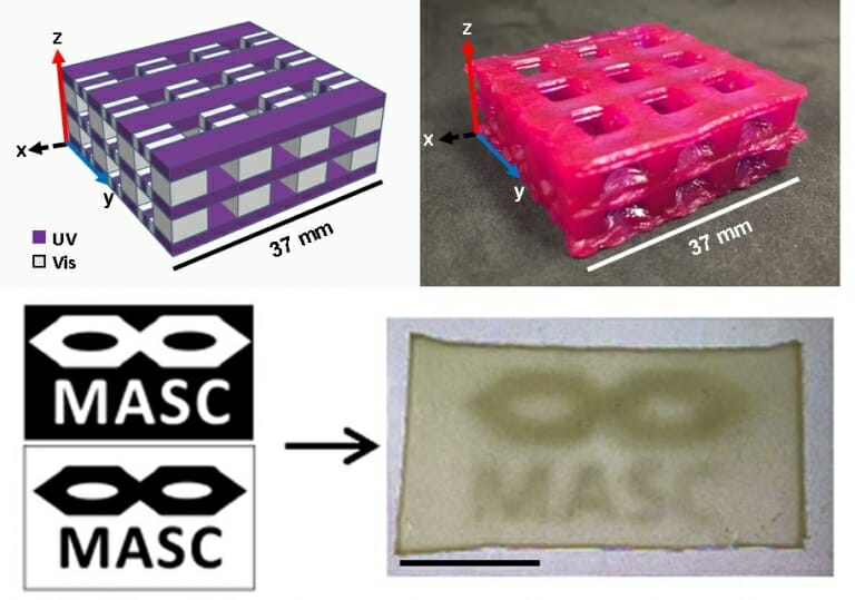 The top images show the digital design and its printed form. Purple corresponds to ultraviolet cured stiff epoxide regions, whereas the gray regions are visible light cured acrylate regions that are soft and compliant. At the bottom, the logo for the 3D printing group, MASC, is turned into a printed object composed of both stiff, opaque regions and soft, transparent regions. Image credit: A. J. Boydston , Johanna Schwartz