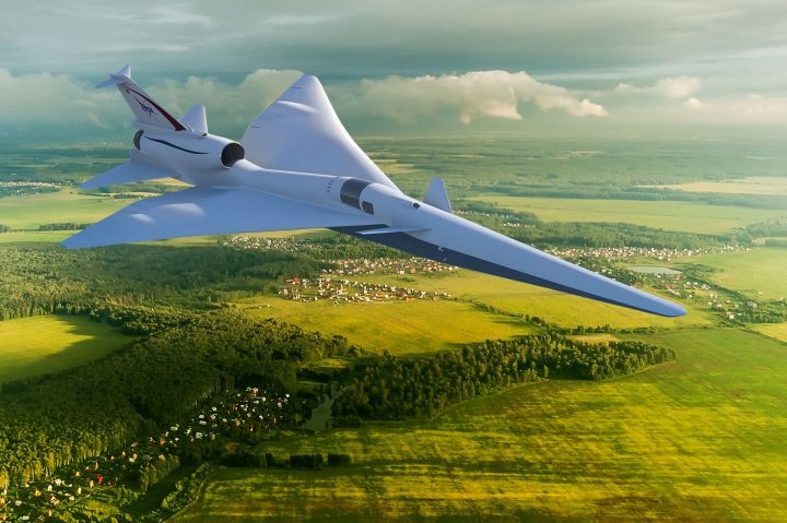 The X-59 Quiet SuperSonic Technology X-plane, or QueSST, will test its quiet supersonic technologies by flying over communities in the United States. X-59 is designed so that when flying supersonic, people on the ground will hear nothing more than a quiet sonic thump – if anything at all. The scientifically valid data gathered from these community overflights will be presented to U.S. and international regulators, who will use the information to help them come up with rules based on noise levels that enable new commercial markets for supersonic flight over land. Credits: NASA Image
