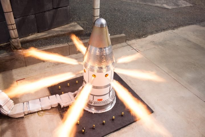The attitude control motor fires during a test at Northrop Grumman's facility in Elkton, MD. Credits: Northrop Grumman
