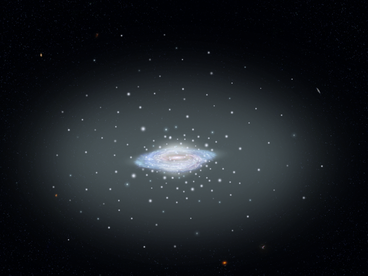 This illustration shows the fundamental architecture of our island city of stars, the Milky Way galaxy: a spiral disk, central bulge, and diffuse halo of stars and globular star clusters. Not shown is the vast halo of dark matter surrounding our galaxy. Credits: NASA, ESA and A. Feild (STScI)