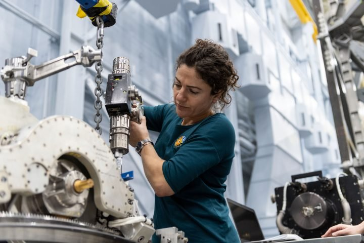 NASA astronaut Jessica Meir trains inside the Space Vehicle Mockup Facility at NASA's Johnson Space Center. She has been assigned to her first spaceflight, and will launch to the International Space Station in September 2019. Credits: NASA