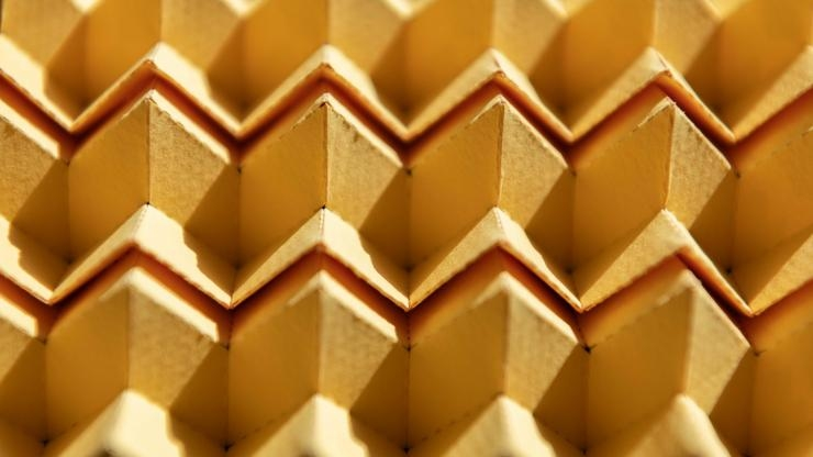 A new type of origami can morph from one pattern into a different one, or even a hybrid of two patterns, instantly altering many of its structural characteristics. Image credit: Allison Carter / Georgia Tech