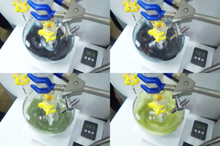 The SWAP process in action. It efficiently converts 90 percent of raw material to ammonia in one go, whereas the Haber-Bosch process only converts 10 percent. Image credit: Yoshiaki Nishibayashi / University of Tokyo