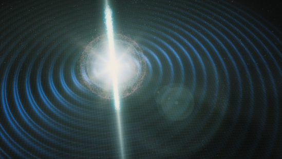 Two neutron stars collide, sending out gravitational waves and electromagnetic radiation detected on Earth in 2017. Image credit: FERMILAB
