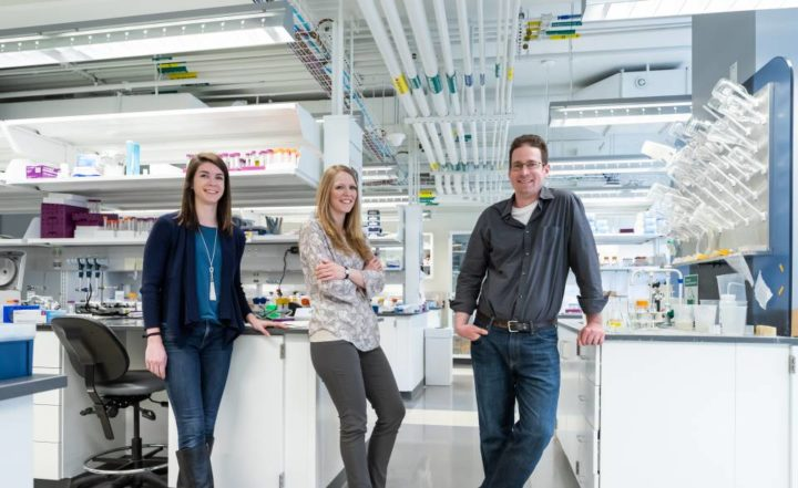 Allison Murawski, Theresa Barrett and Mark Brynildsen standing in a lab  The research team included (from right) Mark Brynildsen, associate professor of chemical and biological engineering, Allison Murawski (left), an M.D.-Ph.D. student, and Theresa Barrett (center), who recently completed her doctoral work in Brynildsen lab's and is finishing a medical degree at Rutgers Robert Wood Johnson Medical School in New Brunswick, New Jersey. Photo by David Kelly Crow / Princeton University