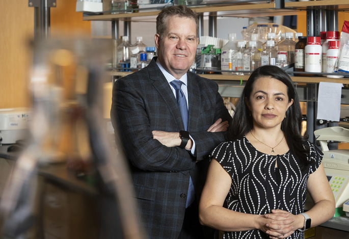 Keith Wilson, MD, and J. Carolina Sierra, PhD, are studying ways to prevent stomach cancer, the third leading cause of cancer deaths worldwide. (photo by Joe Howell)