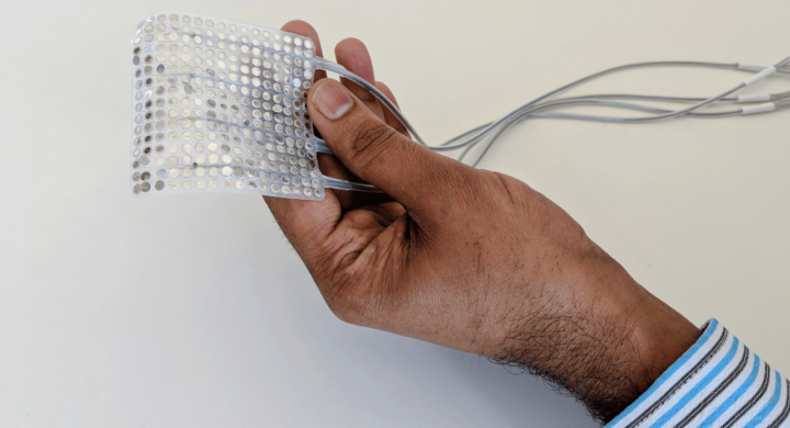 Electrode array in hand. Image credit: UCSF