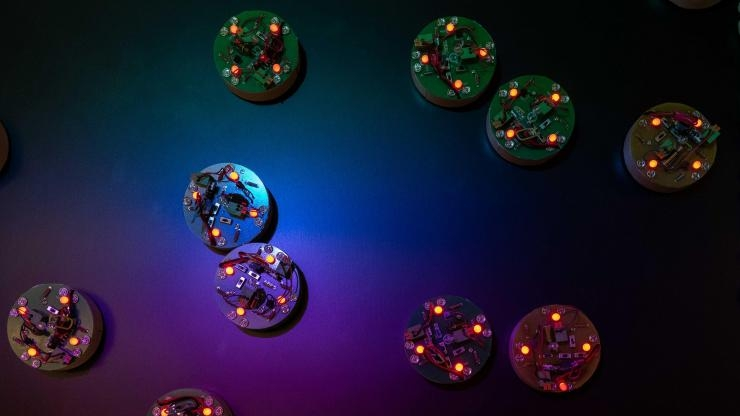 The collective emergent dynamics of these simple robots mimic ferromagnetic materials in different equilibrium states. Image credit: Allison Carter, Georgia Tech