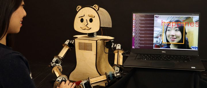 """Woody,"" a low-cost social robot, is reading the emotions on the human's face, based on the algorithms being developed by researcher Kiju Lee and her team at Case Western Reserve University."