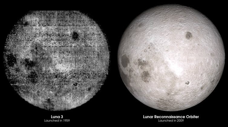 Comparison of humanity's first glimpse of the lunar far side and the same view thanks to LRO data 50 years later. Image credit: NASA's Goddard Space Flight Center Scientific Visualization Studio, CC BY