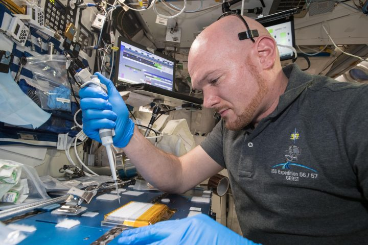 European Space Agency (ESA) astronaut Alexander Gerst uses a pipette to transfer a protein solution into the Protein Crystal Growth Card for an investigation observing protein crystals associated with Parkinson's disease to potentially improve treatments on Earth. Crystallization of LRRK2 Under Microgravity Conditions-2 (CASIS PCG 16) evaluates growth of Leucine-rich repeat kinase 2 (LRRK2) protein crystals in microgravity. LRRK2 is implicated in Parkinson's disease, but crystals of the protein grown on Earth are too small and compact to study. Detailed analysis of larger, space-grown crystals can define the protein's exact shape and morphology and help scientists better understand the disease's pathology. Image credit: NASA