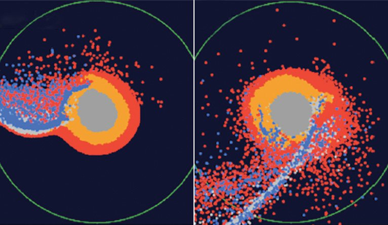 Snapshots of numerical modeling of the moon's formation by a giant impact. The central part of the image is a proto-Earth; red points indicate materials from the ocean of magma in a proto-Earth; blue points indicate the impactor materials. Credit: Hosono, Karato, Makino, and Saitoh