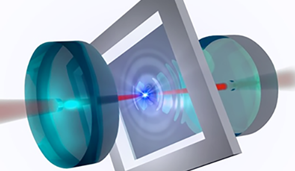 In the image, a flexible membrane (gray square) serves as an acoustic resonator, placed between two mirrors. When laser light is trapped between the mirrors, it passes repeatedly through the membrane. The force exerted by the laser light is used to control the membrane's vibrations. Image credit: Harris Lab