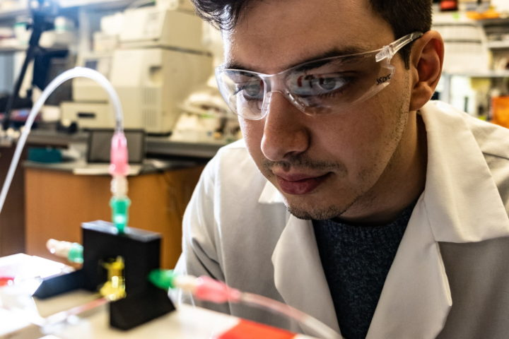 Rice University bioengineering graduate student Bagrat Grigoryan led the development of a new technique for 3D printing tissue with entangled vascular networks similar to the body's natural passageways for blood, air and other vital fluids. (Photo by Jeff Fitlow/Rice University)
