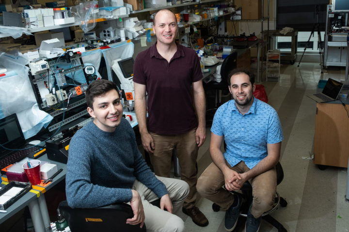 Rice University bioengineers (from left) Bagrat Grigoryan, Jordan Miller and Daniel Sazer and collaborators created a breakthrough bioprinting technique that could speed development of technology for 3D printing replacement organs and tissues. (Photo by Jeff Fitlow/Rice University)