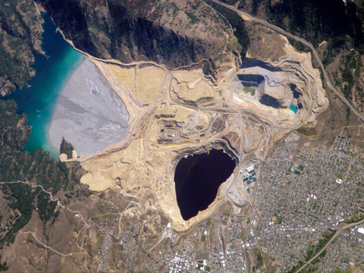 Because its water contains high concentrations of metals such as copper and zinc, the Berkeley Pit is listed as a federal Superfund site. Image credit: NASA