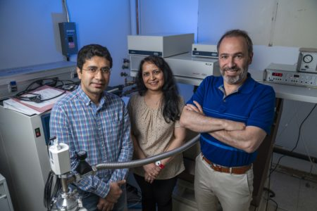 (left to right): Reza Dastvan, PhD, Smriti Mishra, PhD, and Hassane Mchaourab, PhD, are studying the inner workings of a protein pump that contributes to cancer chemotherapy resistance.