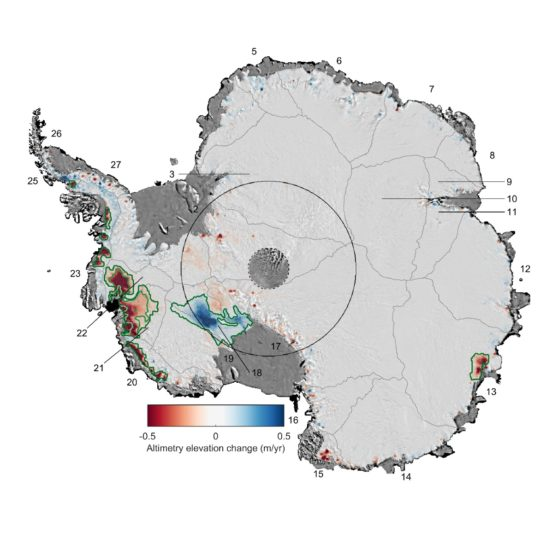 Antarctic ice thickness change between 1992 and 2017. Image credit: UK Centre for Polar Observation and Modelling (CPOM)