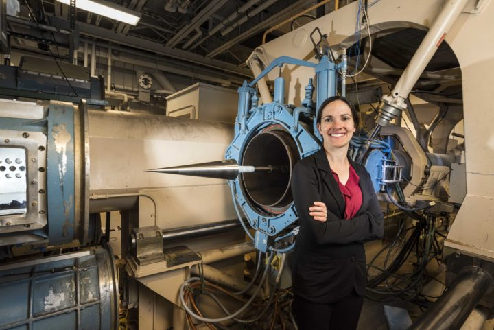 Aerospace engineer Katya Casper has become known for her innovative techniques measuring the effects of pressure on hypersonic vehicles at Sandia National Laboratories wind tunnels. (Photo by Randy Montoya)