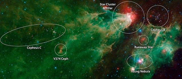 An annotated mosaic by NASA's Spitzer Space Telescope of the Cepheus C and Cepheus B regions. This image combines data from Spitzer's IRAC and MIPS instruments. Image Credit: NASA/JPL-Caltech